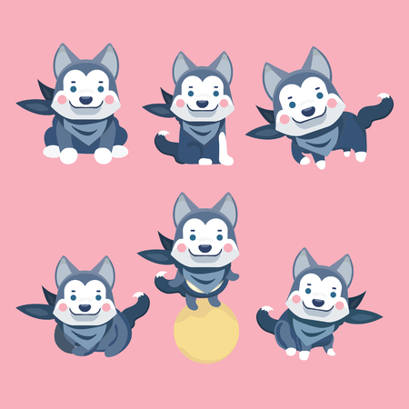 Cartoon character Siberian husky dog poses.