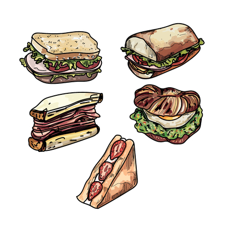Set of delicious sandwich illustrations several different kinds of subs sandwiches toast.