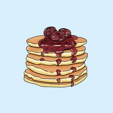 Vector pancakes illustration on pastel background. 일러스트