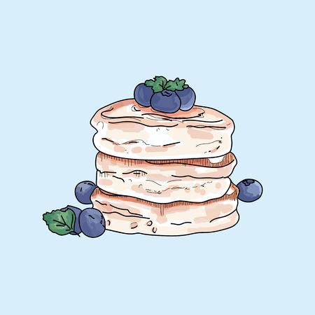 Vector pancakes illustration on pastel background. Ilustracja