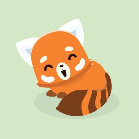 Vector illustration of red panda cartoon style on pastel background.