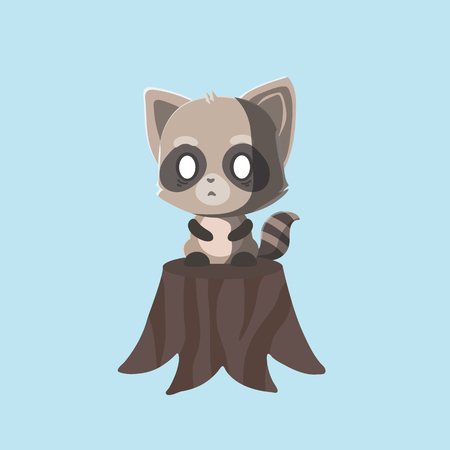 Cute Raccoon on pastel background.