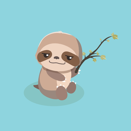 cute sloth on pastel background.
