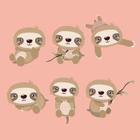 Cute cartoon smiling lazy sloth set.
