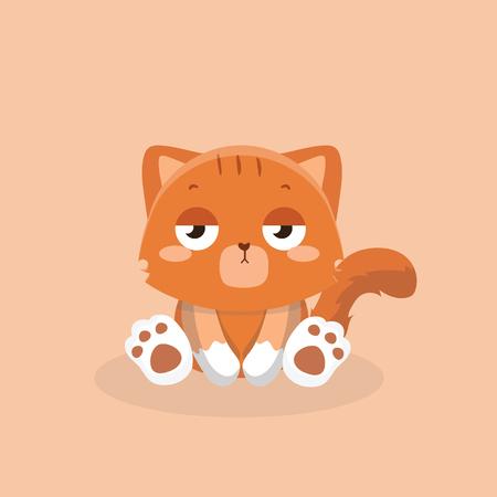 Cute cat illustration on pastel background.