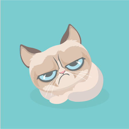 Cute grumpy cat. Vector Illustration. Ilustração