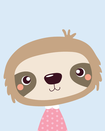 Cute sloth.Childish print for nursery,kids apparel,poster,postcard. Stock Illustratie