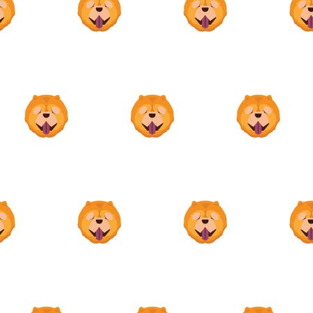 Vector cartoon character chow chow dog seamless pattern for design.