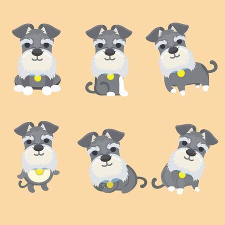 Conjunto de ilustración de vector de dibujos animados de perro Schnauzer.