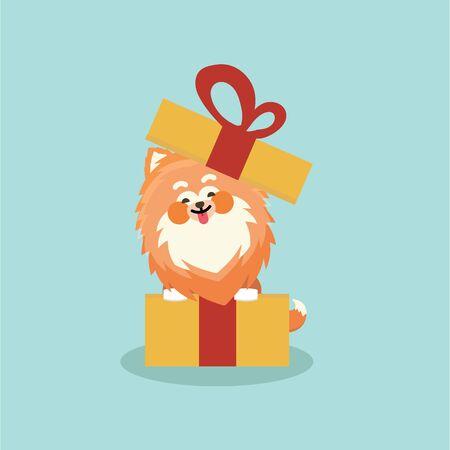 Cute Pomeranian spitz. Flat vector illustration isolated on pastel background. Illustration