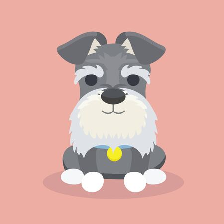 Schnauzer dog cartoon vector illustration. 向量圖像
