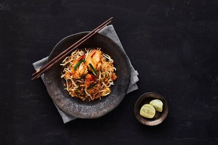 Padthai noodles with shrimps and vegetables.
