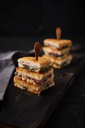 Baked spinach and ham sandwich with sauce. Stockfoto
