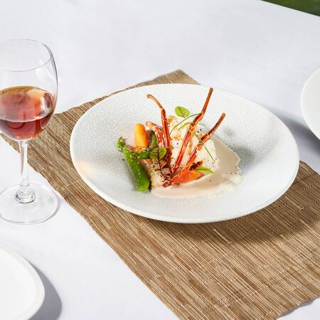 Beautiful and tasty food on a plate, exquisite dish, creative restaurant meal concept
