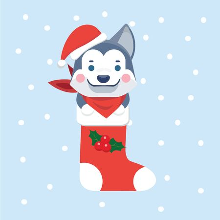 New Year Icon dog. The puppy sits in a Christmas sock.