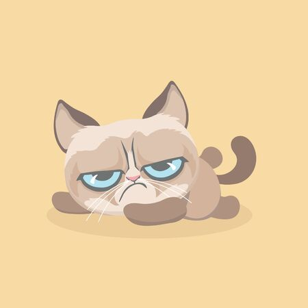 Cute grumpy cat. Vector Illustration.