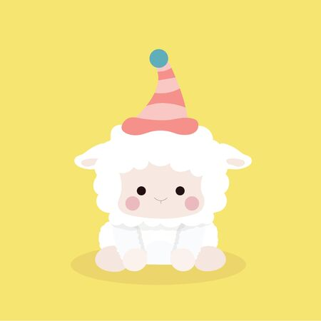 Cute sheep in flat style on pastel background.