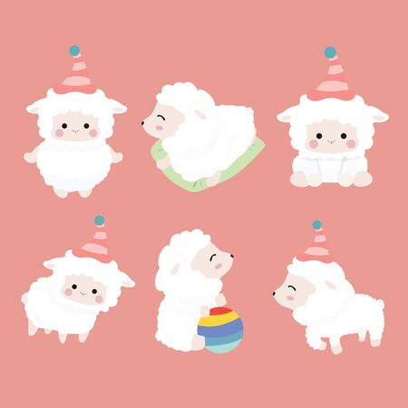 Cute cartoon sheep set on pastel background.