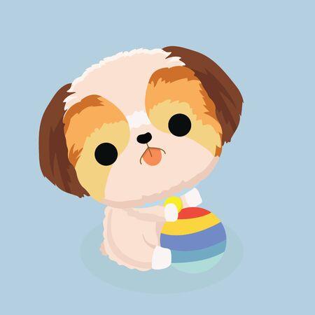 character shih tzu dog on pastel background.