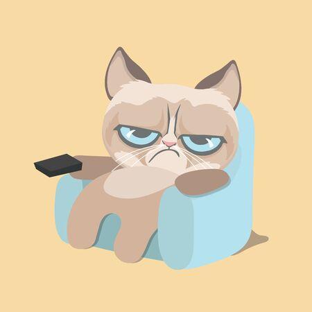 Cute grumpy cat watching home video. Vektorgrafik