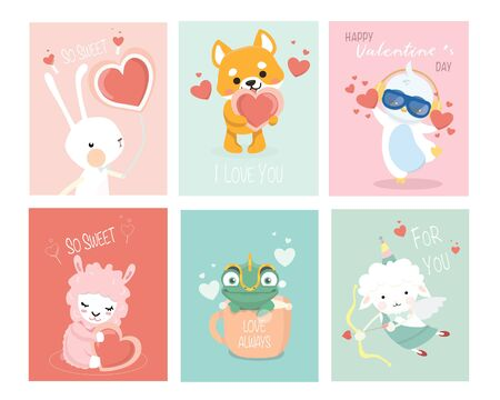 Set of Valentines day cards with cute funny animals.Concept for children print.  Illustration
