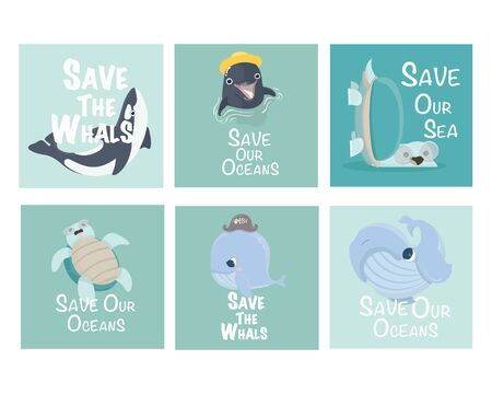 Save our Oceans. Set of Vector Ecology card. Фото со стока - 139363534