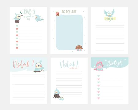 Set of animals and cute vector cards, notes, stickers, labels, tags with cute ornament illustrations. Template for scrapbooking, wrapping, notebooks, notebook, diary, decals, school accessories  Illustration