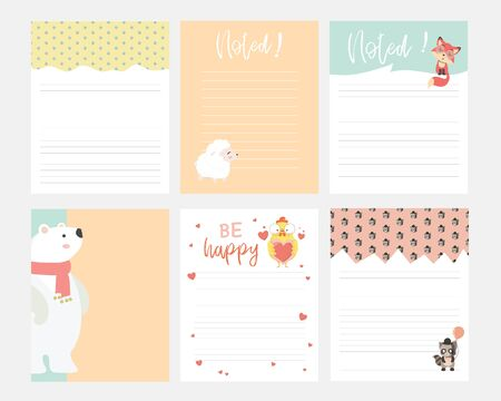 Set of animals and cute vector cards, notes, stickers, labels, tags with cute ornament illustrations. Template for scrapbooking, wrapping, notebooks, notebook, diary, decals, school accessories