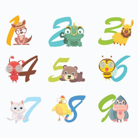 Set of funny numbers with cartoon animals.