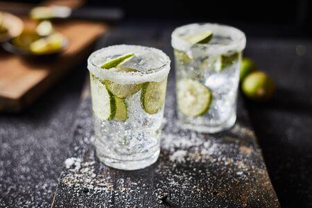 Homemade summer lime lemonade in glasses.