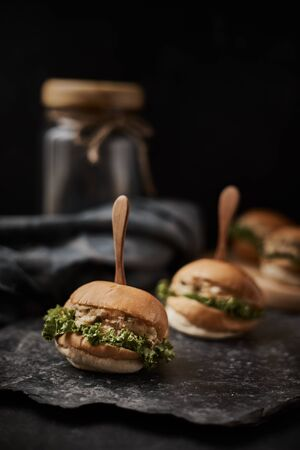 Tuna mini burger on table .Food Concept.