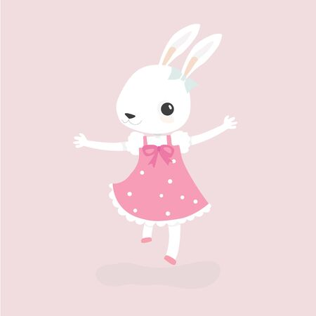 Happy rabbit cartoon character cheerful mammal holiday art.