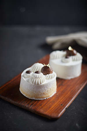 Delicious chestnut cake. Homemade baking. Sweet dessert.