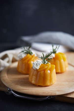 Delicious Homemade cream cake with peaches.