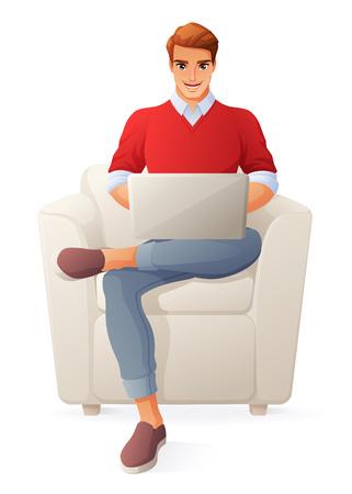 ノートパソコンで働いてる若者ベクトルイラストは、白い背景に分離されています。  イラスト・ベクター素材