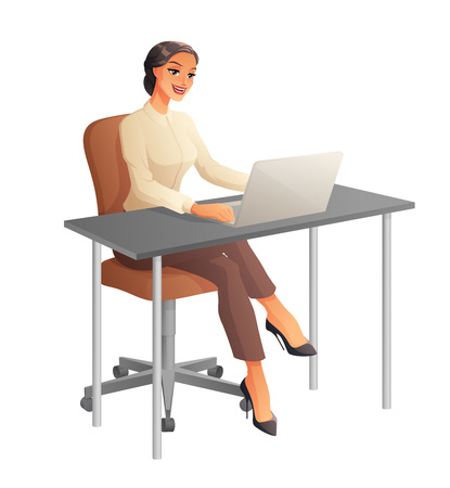 Business woman working on computer. Vector illustration isolated on white background.