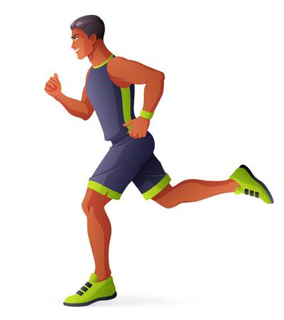 jog: Athlete man running. Vector illustration isolated on white background.