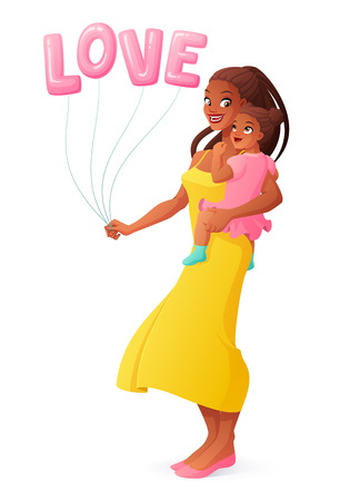 Beautiful African mother holding her little daughter. Isolated vector illustration. Ilustração