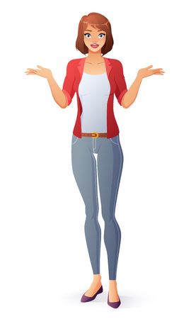 Questioning young cute woman shrugging shoulders. Isolated vector illustration. Ilustração