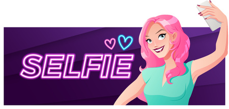 Pretty young woman taking selfie photo. Vector banner.