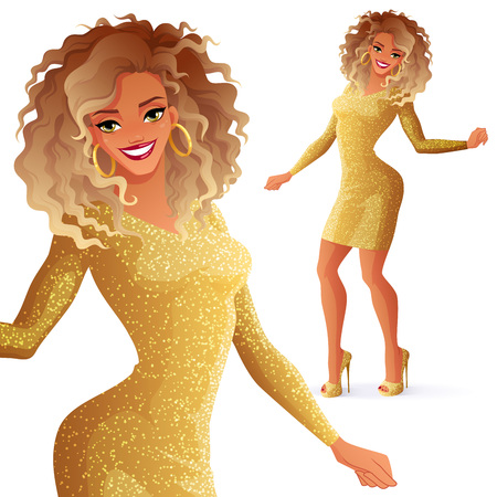 Pretty young glamorous African descent dancing woman in golden glitter dress. Vector illustration isolated on white background.