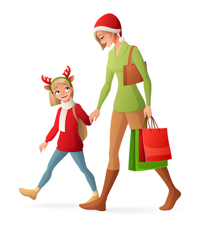 Beautiful mother and young cute daughter walking hand in hand with shopping bags. Christmas family shopping cartoon vector illustration isolated on white background.