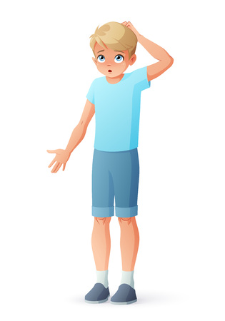 Surprised boy scratching head and shrugging shoulders. Isolated vector illustration.