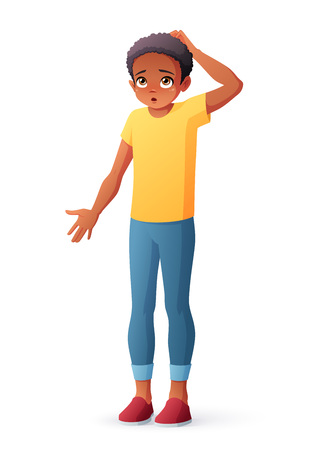 Puzzled African boy scratching head shrugging shoulders. Isolated vector illustration.
