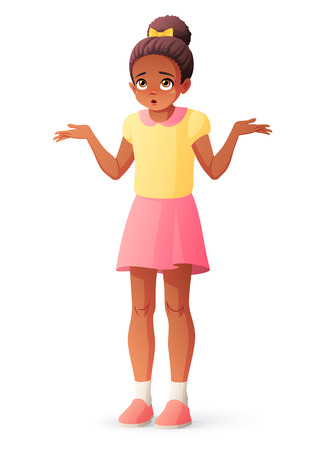 Confused young African American girl shrugging shoulders. Isolated vector illustration.