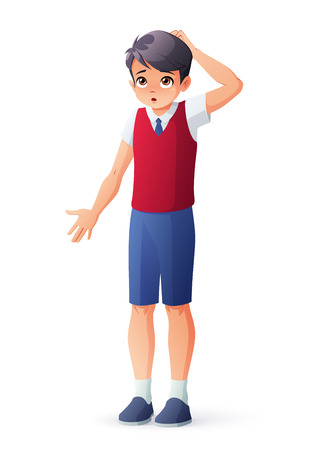 Boy in school uniform scratching his head. Isolated vector illustration.