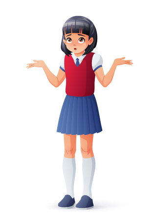 Surprised Asian school student girl shrugging shoulders. Isolated vector illustration.