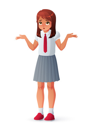 Confused girl in school uniform shrugging shoulders. Isolated vector illustration.