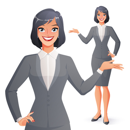 Beautiful smiling businesswoman presenting. Full length isolated vector illustration.
