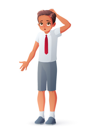 I dont know. Young student boy in school uniform. Surprised puzzled kid scratching his head and shrugging shoulders. Cartoon style vector illustration isolated on white background.